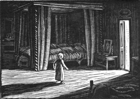wood-engraving print: In the Night for Four Tales from Hans Andersen